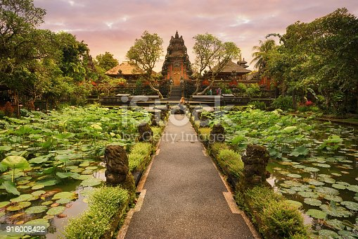 A pathway over a scenic lotus pond leads to this Hindu temple with ornate architectural details.