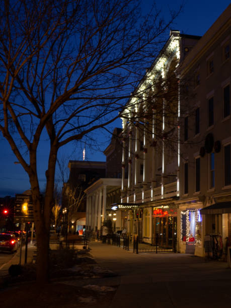 Saratoga Springs Street of Storefronts at Night stock photo