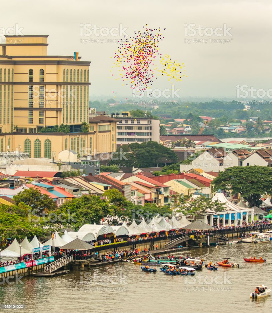Sarawak Kuching Water Festival, a lot of ballons are released stock photo