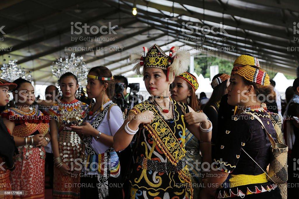 Sarawak native, Beautiful Orang Ulu ladies in traditional costume stock photo