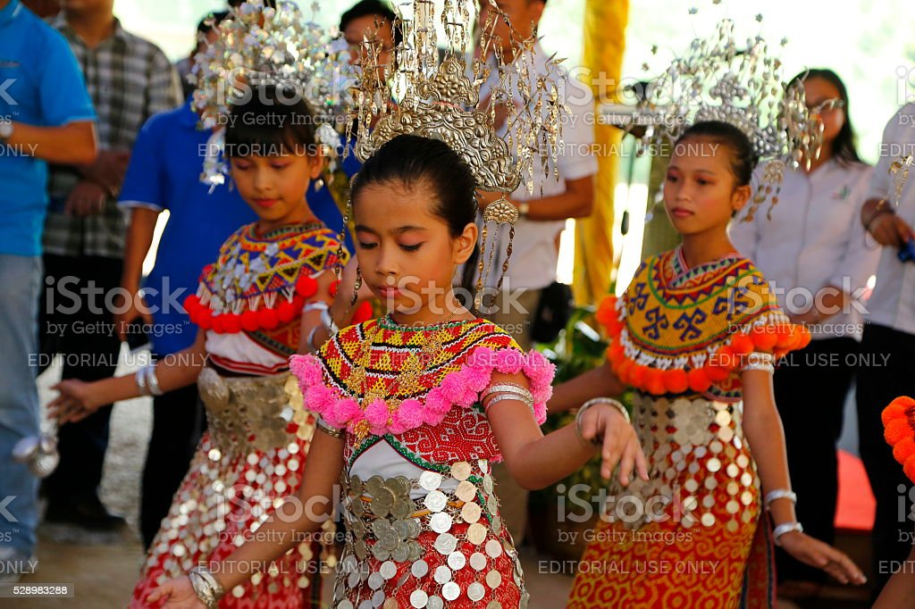 Sarawak native, Iban teenager girls in traditional costume traditional dance performance stock photo