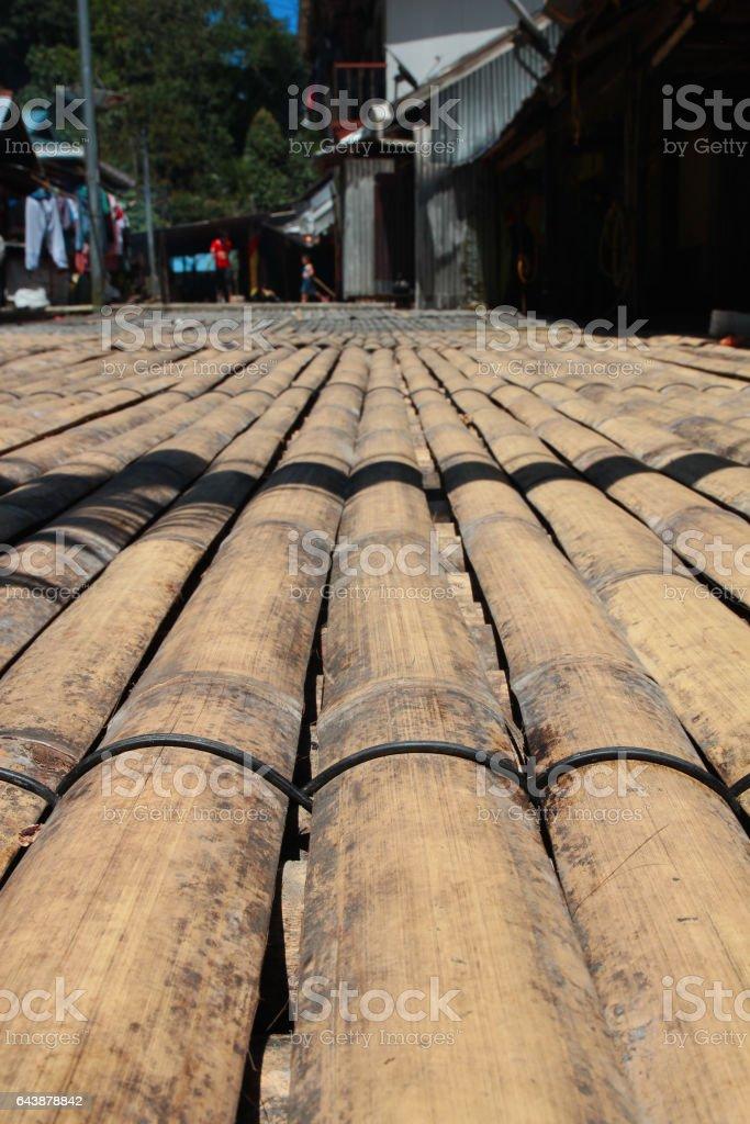 Sarawak transitional longhouse bamboo floor stock photo