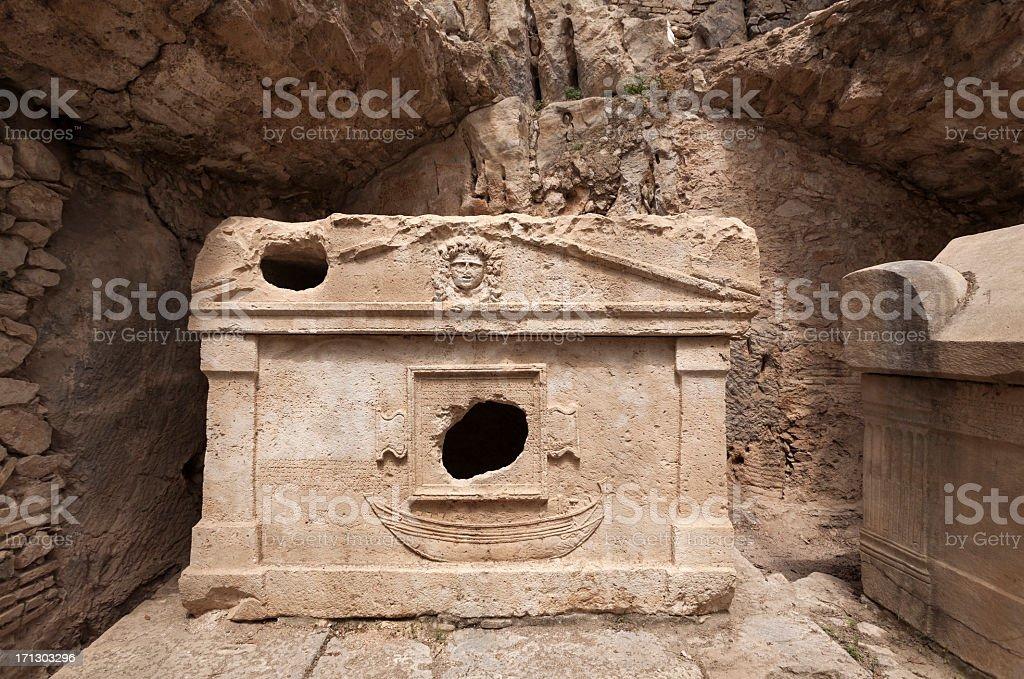 Sarcophagus of Captain Eudemos, Olympos - Turkey royalty-free stock photo