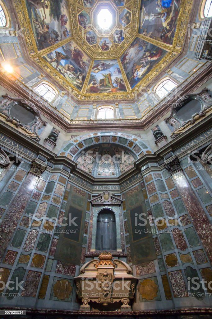 Sarcophagus of Cosimo II in Medici chapel, Florence, Italy stock photo