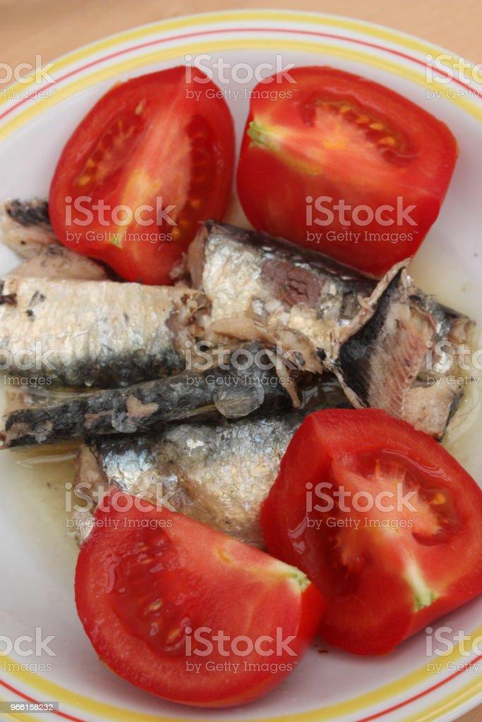 Sardinen in Öl (Dose) Tomaten aus dem Garten - Lizenzfrei Fisch Stock-Foto