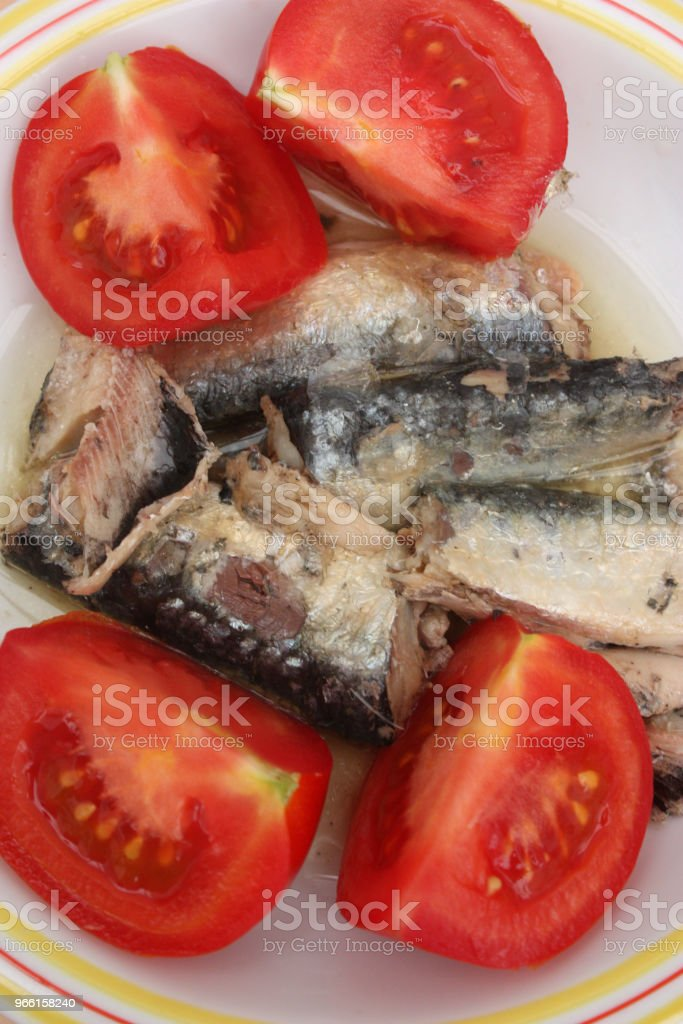 Sardines in oil (Canned) Tomatoes from the garden - Royalty-free Appetizer Stock Photo