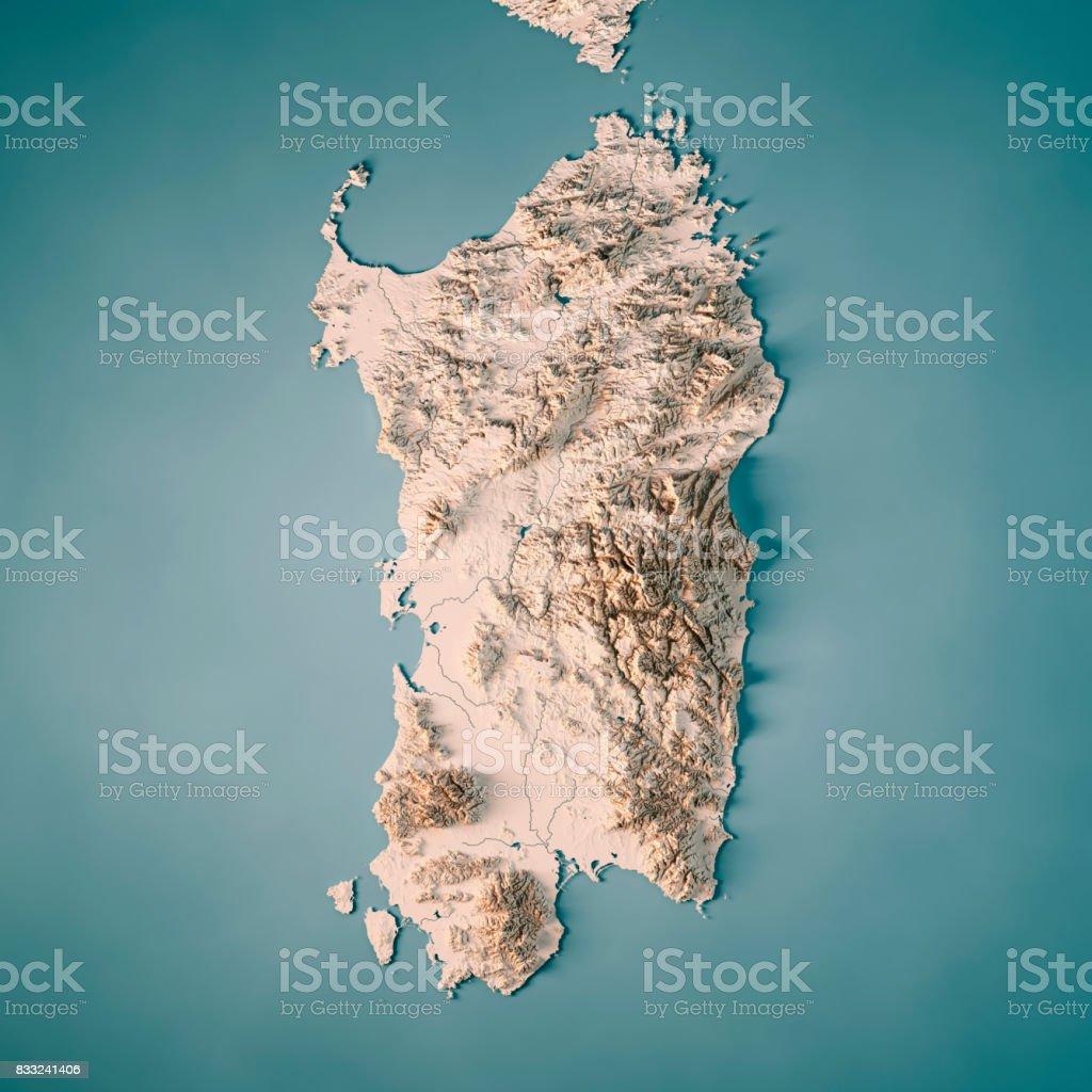 Carte Italie Et Sardaigne.Photo Libre De Droit De Lile De Sardaigne Italie Rendu 3d Carte