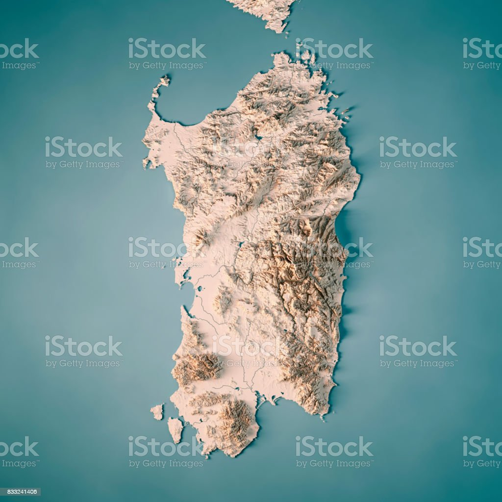 Sardinia Island Italy 3D Render Topographic Map Neutral stock photo