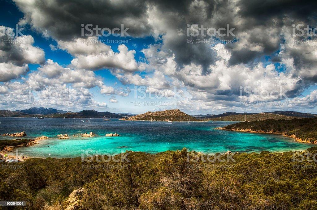 sardinia landscape sea of caprera stock photo