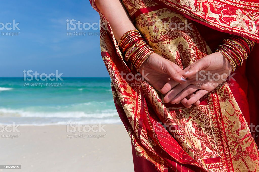 Sari by the ocean. stock photo