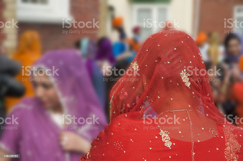 sari headdress detail at sikh festival stock photo