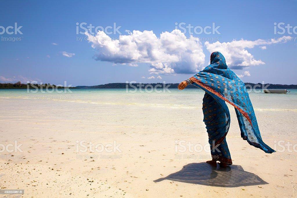 Sari on the beach. stock photo