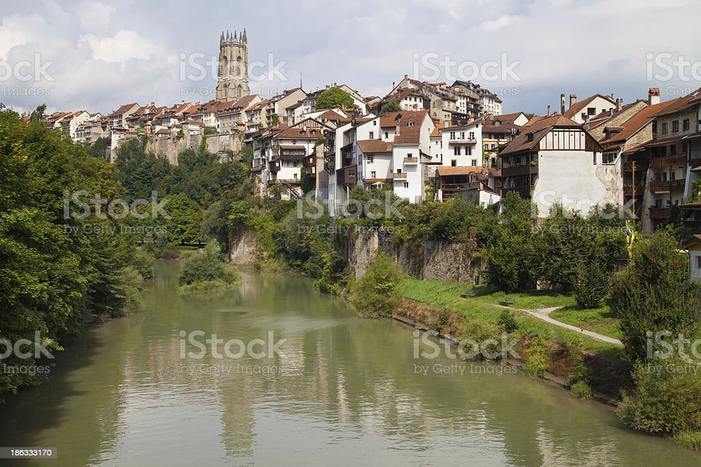 Sarine River at Fribourg stock photo