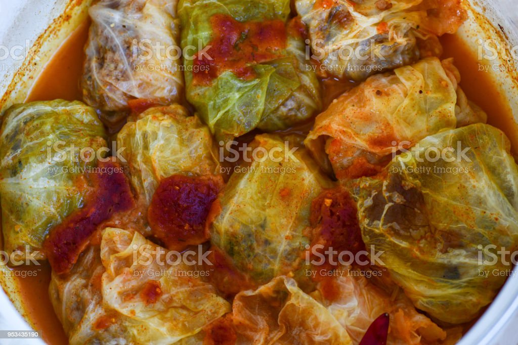 Sarma, cabbage roll with rice and minced meat stock photo