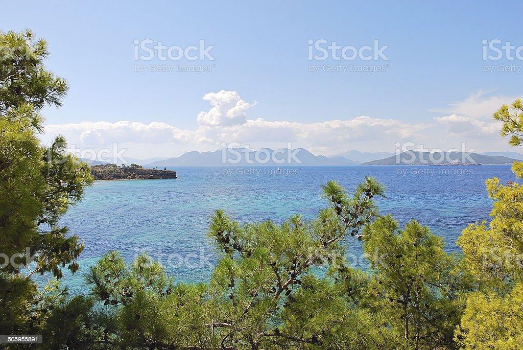 Saronic Gulf of Aegean Sea near Athens, Greece stock photo