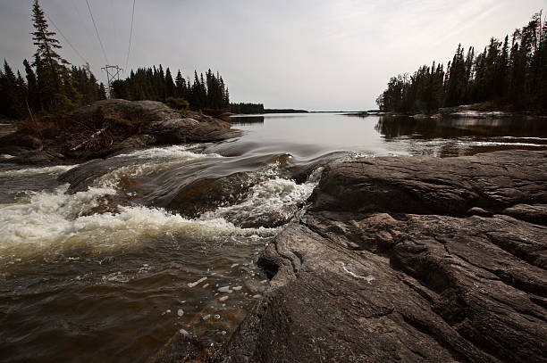 Sasagin Rapids in Northern Manitoba stock photo