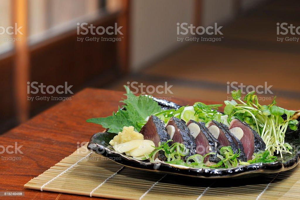 Sashimi of bonito stock photo