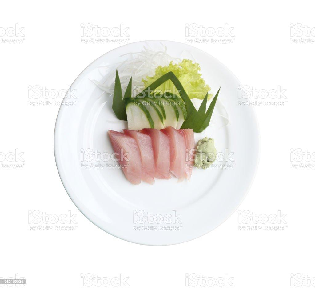 Sashimi of fresh tuna in dish on white background. 免版稅 stock photo