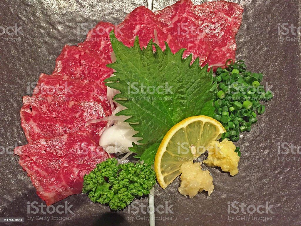 Sashimi of horse meat stock photo