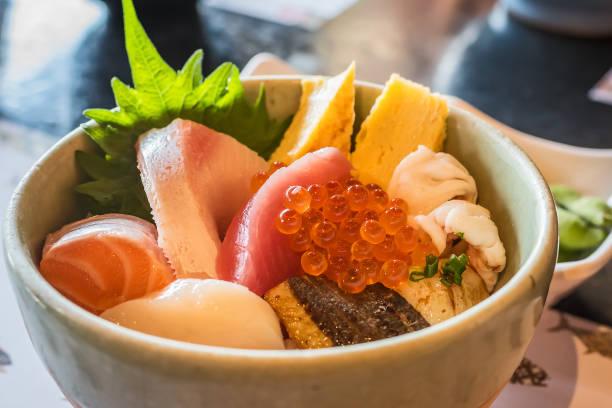 刺身丼 (海鮮ドン) - 魚介類 ストックフォトと画像