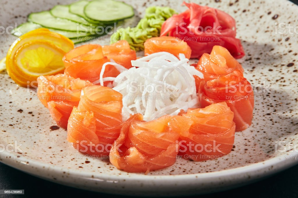 Sashimi salmon with fruits and vegetables royalty-free stock photo