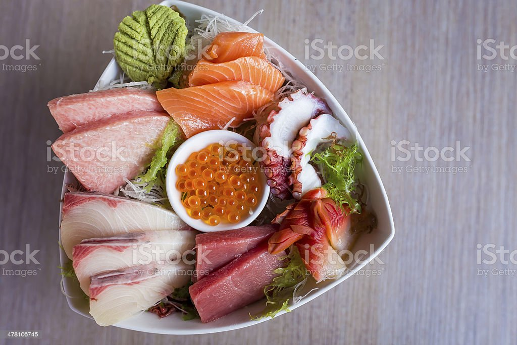 Sashimi Set in triangular bowl royalty-free stock photo
