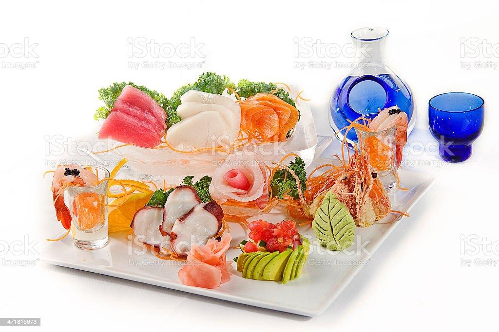 Sashimi Set with Sake royalty-free stock photo