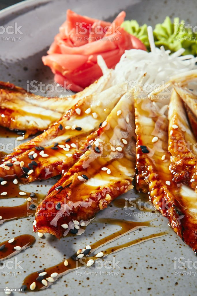 Sashimi with eel, vegetables and sauce royalty-free stock photo