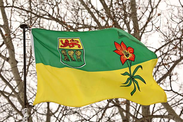 Saskatchewan flag blowing open stock photo