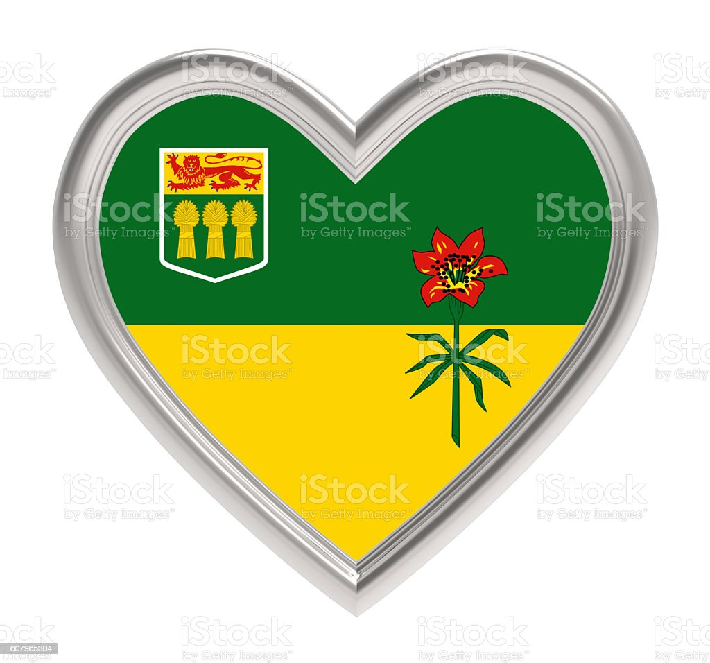 Saskatchewan flag in silver heart isolated on white background. stock photo