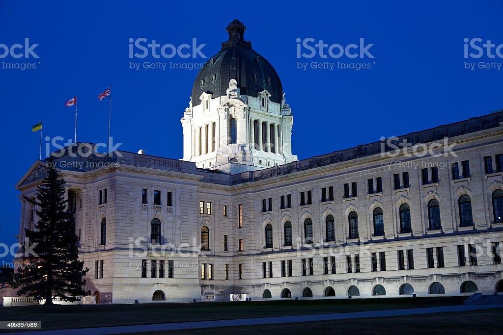 Saskatchewan Legislative Building at dusk in Regina Saskatchewan stock photo