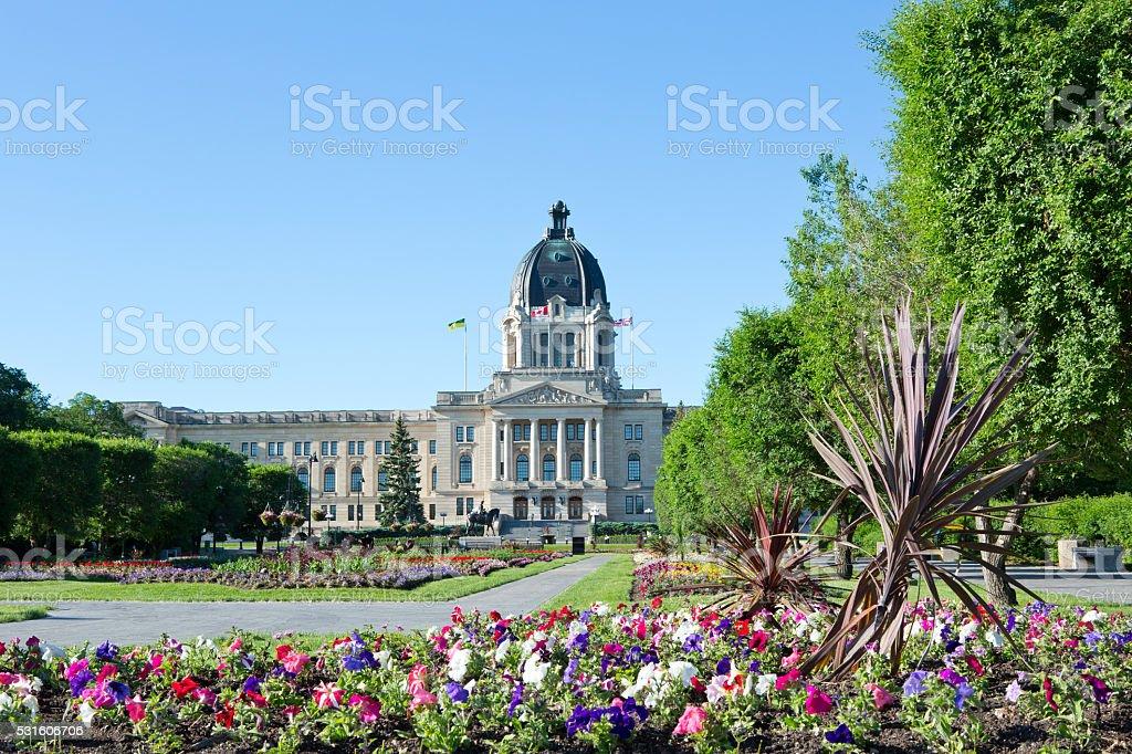 Saskatchewan Legislative Building Flower Gardens Regina stock photo