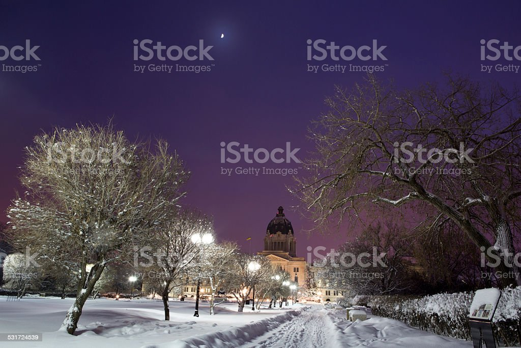 Saskatchewan Legislative Building on a snowy winter night stock photo