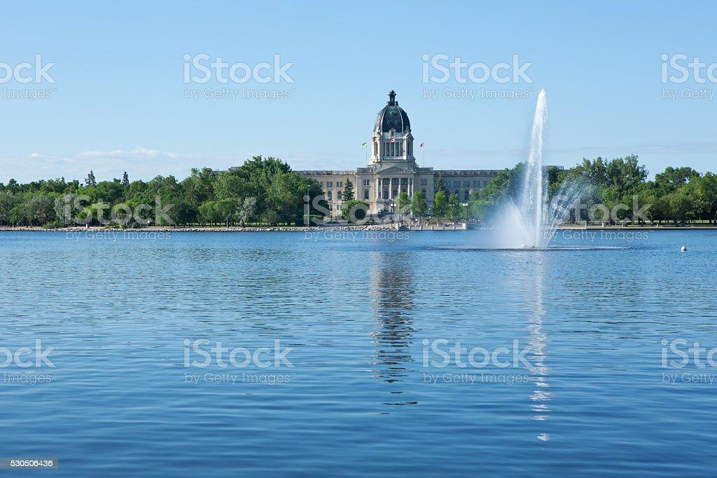 Saskatchewan Legislative Building with fountain in Wascana Lake Regina stock photo