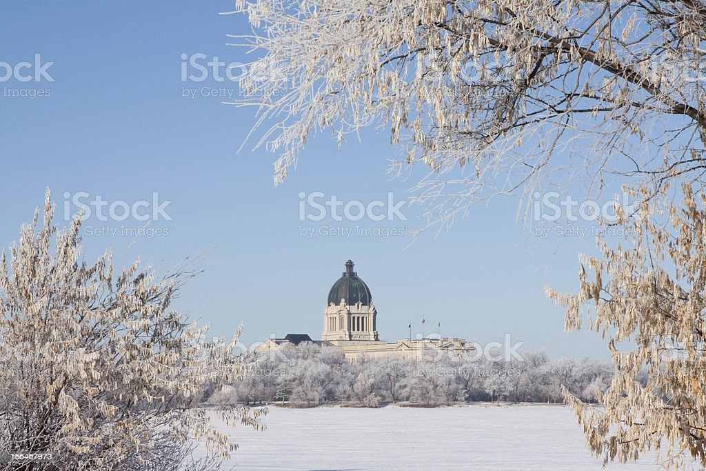 Saskatchewan Legislative Building with frost covered trees in winter stock photo