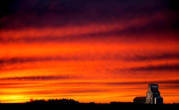 Saskatchewan Prairie Sunset stock photo