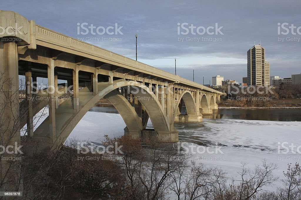 Saskatoon Broadway Bridge Saskatchewan River Winter royalty-free stock photo