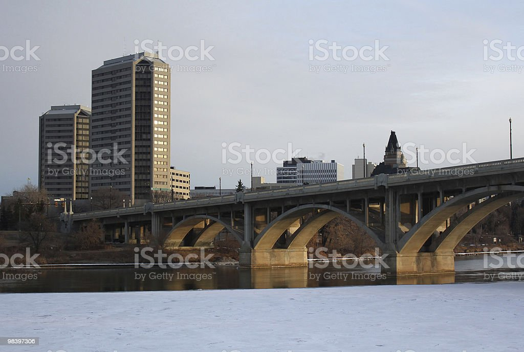 Saskatoon Ponte di Broadway inverno foto stock royalty-free