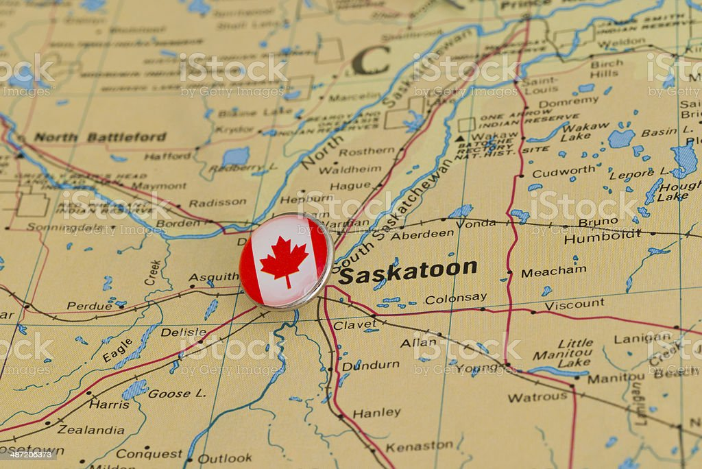Saskatoon canada marked with flag pushpin on map stock photo more saskatoon canada marked with flag pushpin on map royalty free stock photo gumiabroncs Choice Image