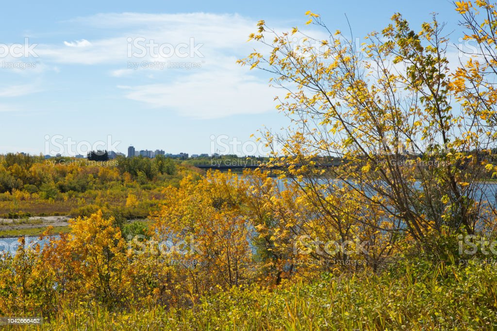 Saskatoon city downtown and South Saskatchewan River in autumn stock photo