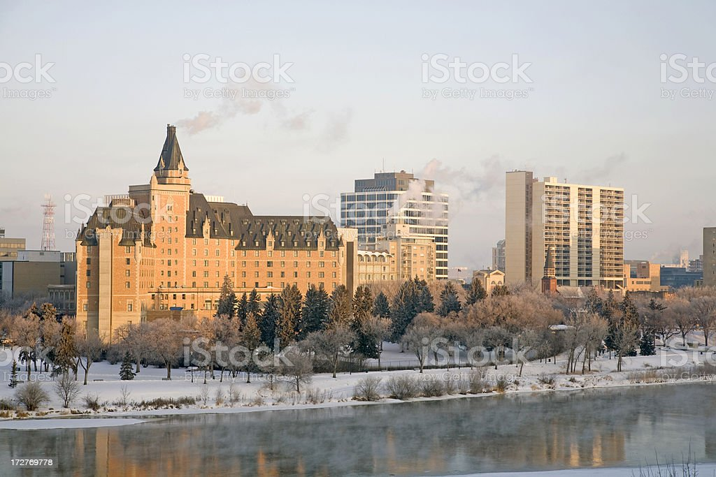 Saskatoon Dawn Over Downtown in Winter royalty-free stock photo
