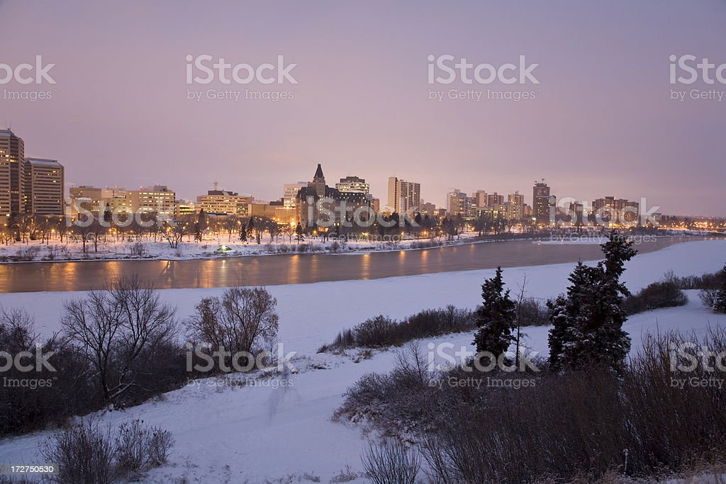 Saskatoon Downtown at Night royalty-free stock photo