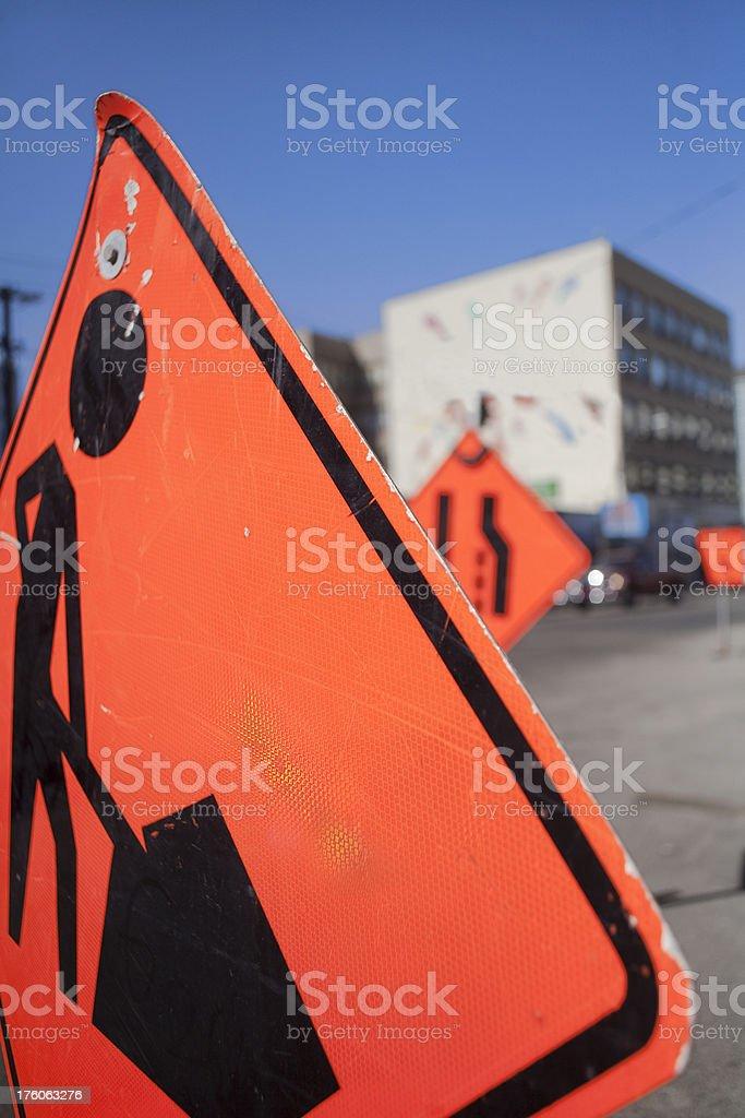 Saskatoon Downtown Roadd Construction Sign royalty-free stock photo