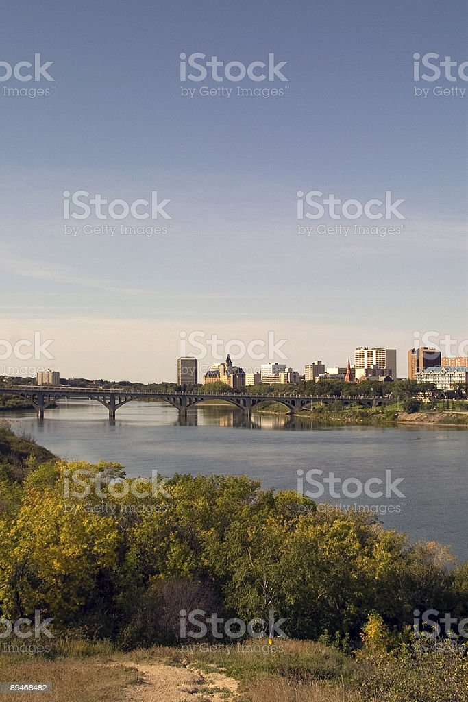 Saskatoon Riverbank royalty free stockfoto