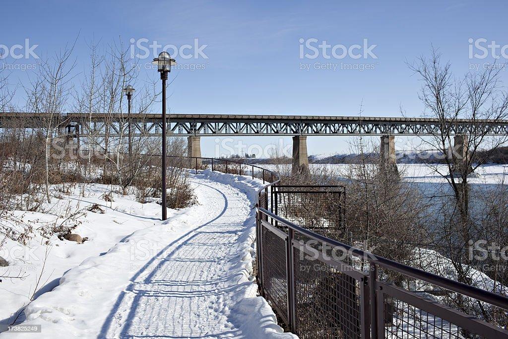 Saskatoon Riverside Walking Path In Winter royalty-free stock photo