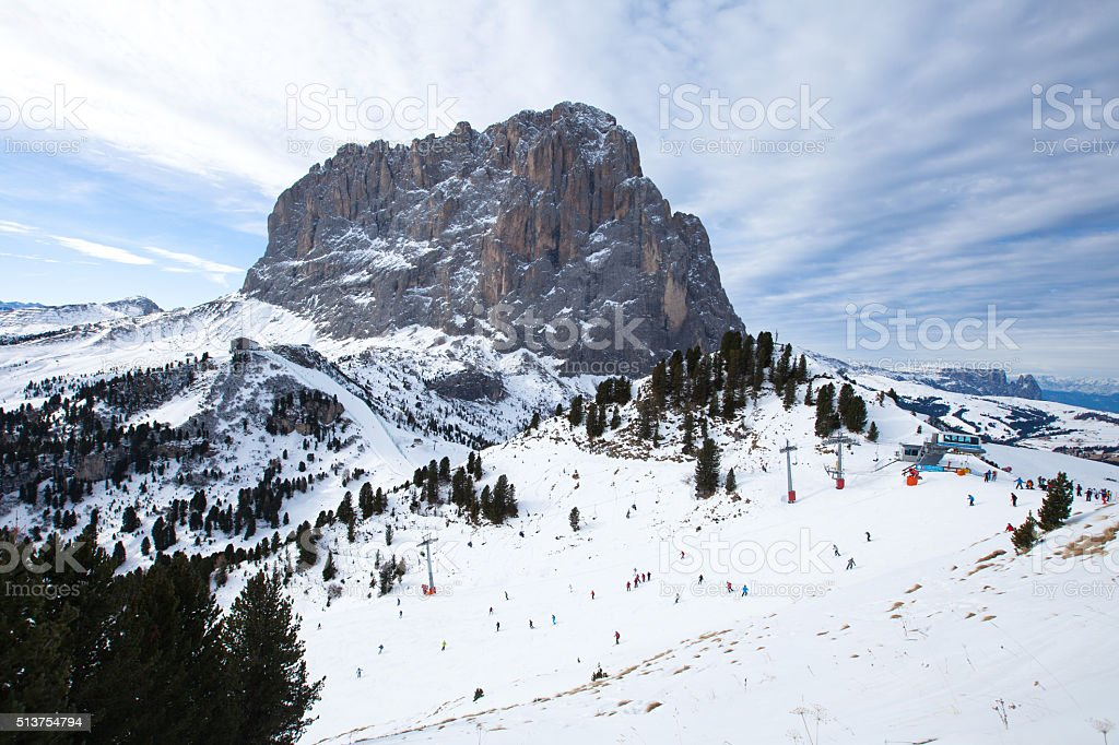 Saslong mountain peak in Dolomiti, Val Gardena, Italy stock photo