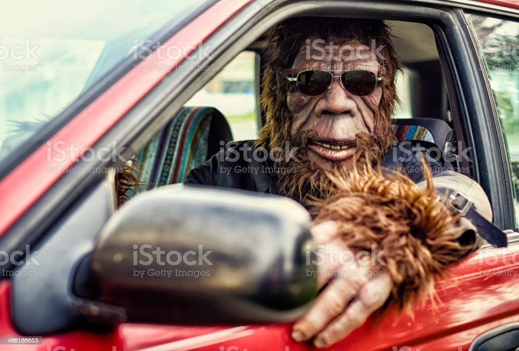Sasquatch Road Trip stock photo