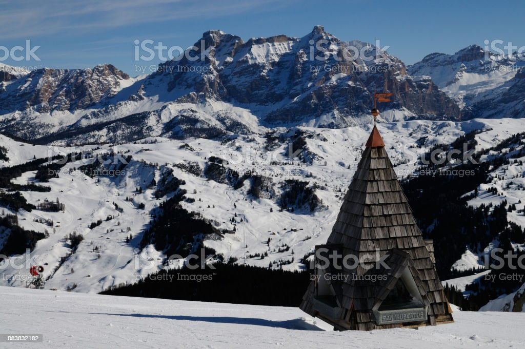 Sasso della Croce in The Italian Dolomites as seen from Piz Boe. Alta Badia, Italy. stock photo
