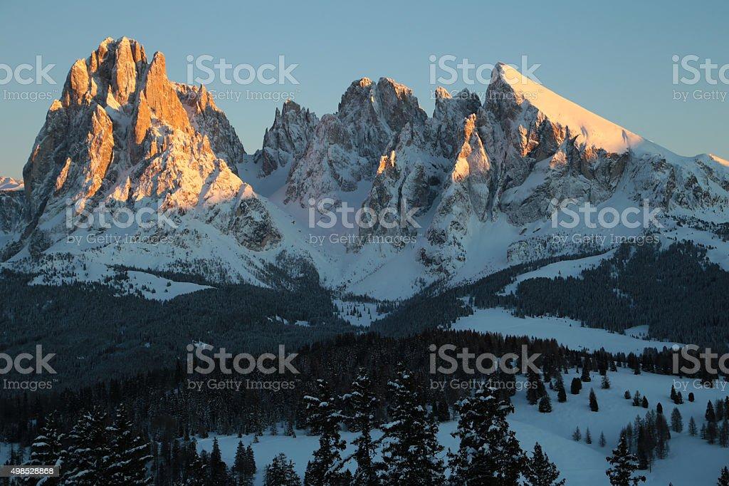 Sassolungo and Sassopiatto mountain in sunset, Trentino Alto Adige, Italy stock photo