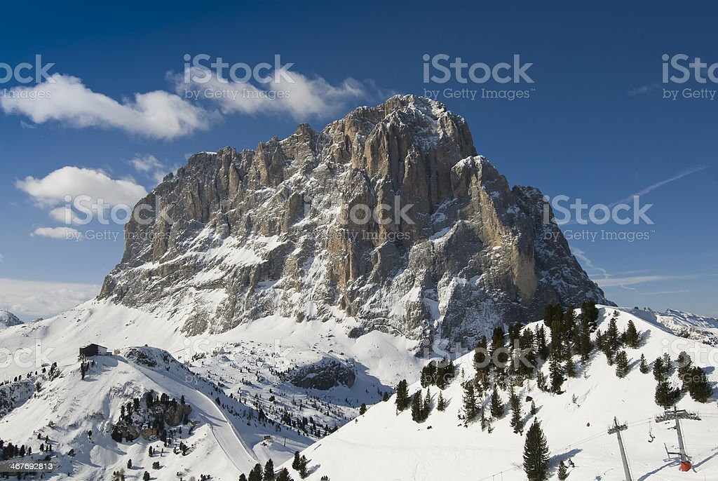 Sassolungo, Dolomites, Unesco site stock photo